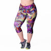 Veronica Print Capri - Rainbeau Curves, 14/16 / Swift Strokes, activewear, athleisure, fitness, workout, gym, performance, womens, ladies, plus size, curvy, full figured, spandex, cotton, polyester - 1