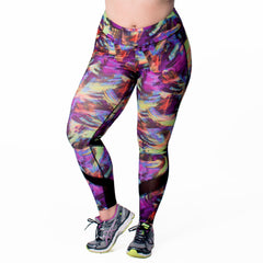 Andrea Print Sport Legging - Rainbeau Curves, 14/16 / Swift Strokes, activewear, athleisure, fitness, workout, gym, performance, womens, ladies, plus size, curvy, full figured, spandex, cotton, polyester - 1