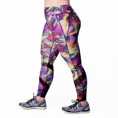Andrea Print Sport Legging - Rainbeau Curves, , activewear, athleisure, fitness, workout, gym, performance, womens, ladies, plus size, curvy, full figured, spandex, cotton, polyester - 3