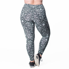 Jaclynn Floral Print Legging - Rainbeau Curves, 14/16 / Black Floral Trellis, activewear, athleisure, fitness, workout, gym, performance, womens, ladies, plus size, curvy, full figured, spandex, cotton, polyester - 3