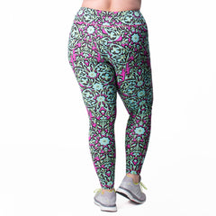 Jaclynn Floral Print Legging - Rainbeau Curves, 14/16 / Multi Floral Trellis, activewear, athleisure, fitness, workout, gym, performance, womens, ladies, plus size, curvy, full figured, spandex, cotton, polyester - 2
