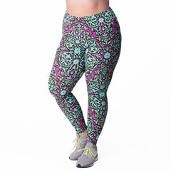 Jaclynn Floral Print Legging - Rainbeau Curves, , activewear, athleisure, fitness, workout, gym, performance, womens, ladies, plus size, curvy, full figured, spandex, cotton, polyester - 1