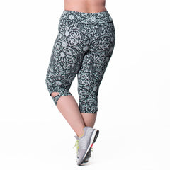 Lilia Print Capri - Rainbeau Curves, 14/16 / Black Floral Trellis, activewear, athleisure, fitness, workout, gym, performance, womens, ladies, plus size, curvy, full figured, spandex, cotton, polyester - 2