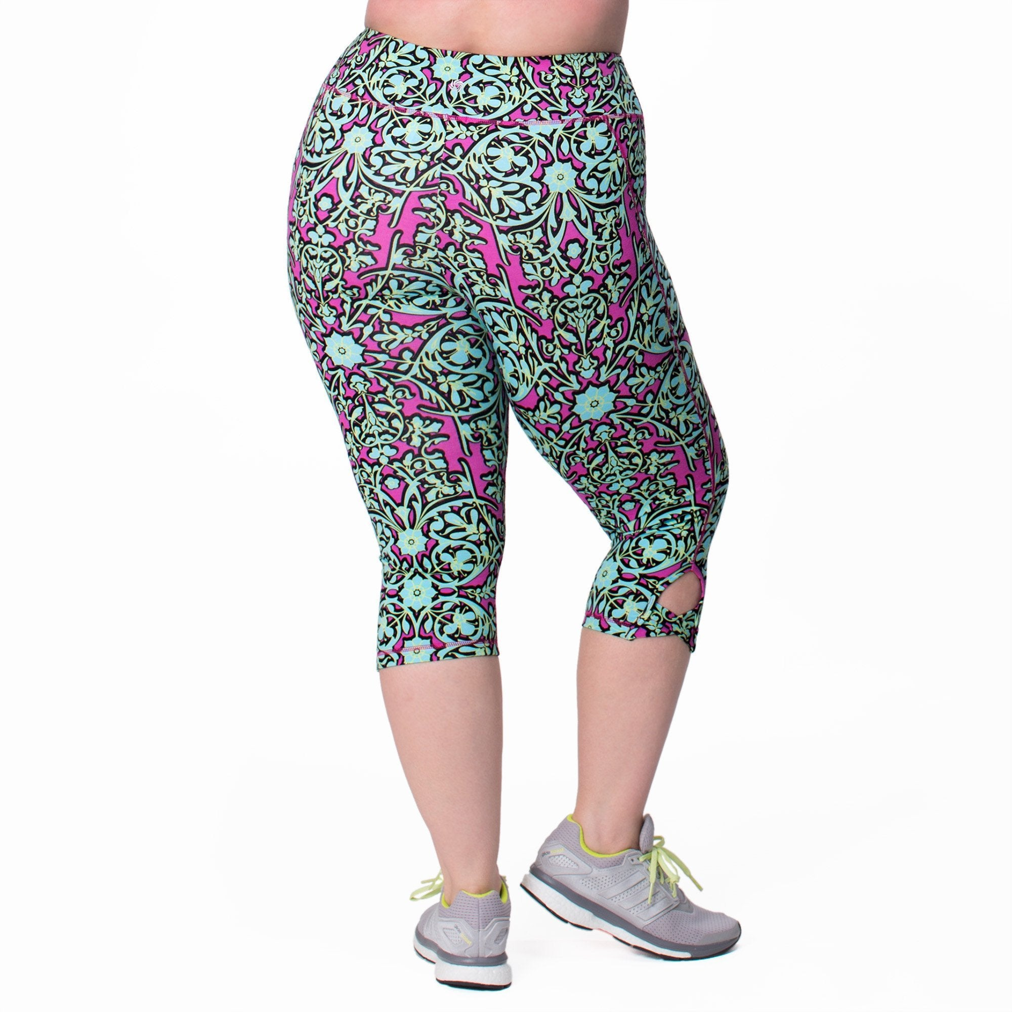 Lilia Print Capri - Rainbeau Curves, 18/20 / Multi Floral Trellis, activewear, athleisure, fitness, workout, gym, performance, womens, ladies, plus size, curvy, full figured, spandex, cotton, polyester - 3