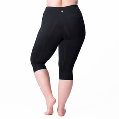 Nylon Basix Capri - Rainbeau Curves, 18/20 / Black, activewear, athleisure, fitness, workout, gym, performance, womens, ladies, plus size, curvy, full figured, spandex, cotton, polyester - 3