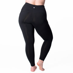 Nylon Basix Legging - Rainbeau Curves, 18/20 / Black, activewear, athleisure, fitness, workout, gym, performance, womens, ladies, plus size, curvy, full figured, spandex, cotton, polyester - 3