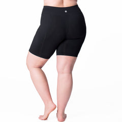 Nylon Basix Bike Short - Rainbeau Curves, 18/20 / Black, activewear, athleisure, fitness, workout, gym, performance, womens, ladies, plus size, curvy, full figured, spandex, cotton, polyester - 2
