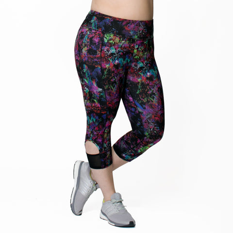 Janet Print Capri - Rainbeau Curves, 14/16 / Hi-Fi Flora, activewear, athleisure, fitness, workout, gym, performance, womens, ladies, plus size, curvy, full figured, spandex, cotton, polyester - 1