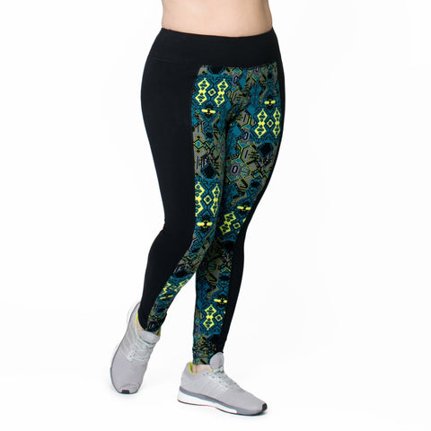 Joan Print Legging - Rainbeau Curves, 14/16 / Black Moroccan Mystic, activewear, athleisure, fitness, workout, gym, performance, womens, ladies, plus size, curvy, full figured, spandex, cotton, polyester - 4