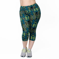 Courtney Print Capri - Rainbeau Curves, 14/16 / Multi Moroccan Mystic, activewear, athleisure, fitness, workout, gym, performance, womens, ladies, plus size, curvy, full figured, spandex, cotton, polyester - 4
