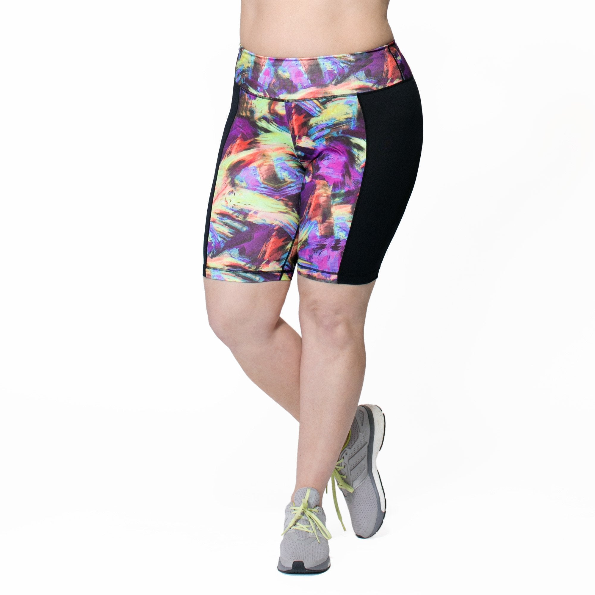 Anna Bike Short - Rainbeau Curves, 14/16 / Swift Strokes, activewear, athleisure, fitness, workout, gym, performance, womens, ladies, plus size, curvy, full figured, spandex, cotton, polyester - 1