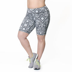 Alicia Bike Short - Rainbeau Curves, 14/16 / Black Floral Trellis, activewear, athleisure, fitness, workout, gym, performance, womens, ladies, plus size, curvy, full figured, spandex, cotton, polyester - 2