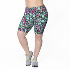 Alicia Bike Short - Rainbeau Curves, 14/16 / Multi Floral Trellis, activewear, athleisure, fitness, workout, gym, performance, womens, ladies, plus size, curvy, full figured, spandex, cotton, polyester - 1