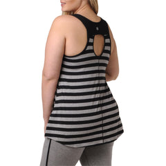 Lillian Stripe Tank - Rainbeau Curves, 14/16 / Black, activewear, athleisure, fitness, workout, gym, performance, womens, ladies, plus size, curvy, full figured, spandex, cotton, polyester - 3