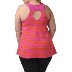 Lillian Stripe Tank - Rainbeau Curves, 18/20 / Passion Pink, activewear, athleisure, fitness, workout, gym, performance, womens, ladies, plus size, curvy, full figured, spandex, cotton, polyester - 2