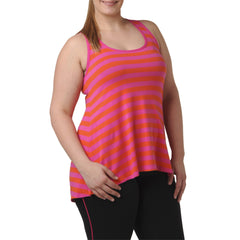 Lillian Stripe Tank - Rainbeau Curves, 14/16 / Passion Pink, activewear, athleisure, fitness, workout, gym, performance, womens, ladies, plus size, curvy, full figured, spandex, cotton, polyester - 1