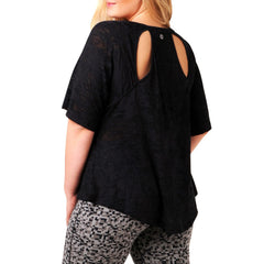 Kayla Layer Tee - Rainbeau Curves, 14/16 / Black, activewear, athleisure, fitness, workout, gym, performance, womens, ladies, plus size, curvy, full figured, spandex, cotton, polyester - 4