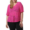 Kayla Layer Tee - Rainbeau Curves, 14/16 / Passion Pink, activewear, athleisure, fitness, workout, gym, performance, womens, ladies, plus size, curvy, full figured, spandex, cotton, polyester - 2