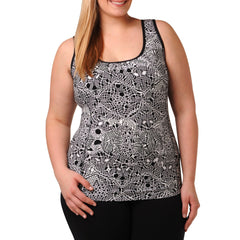 Jocelyn Print Tank w/ Bra - Rainbeau Curves, 14/16 / Black Lace, activewear, athleisure, fitness, workout, gym, performance, womens, ladies, plus size, curvy, full figured, spandex, cotton, polyester - 2