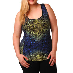 Jocelyn Print Tank w/ Bra - Rainbeau Curves, 14/16 / Blue Lace, activewear, athleisure, fitness, workout, gym, performance, womens, ladies, plus size, curvy, full figured, spandex, cotton, polyester - 4