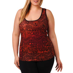 Jocelyn Print Tank w/ Bra - Rainbeau Curves, 14/16 / Pink Lace, activewear, athleisure, fitness, workout, gym, performance, womens, ladies, plus size, curvy, full figured, spandex, cotton, polyester - 3