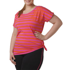 Naomi T-Shirt - Rainbeau Curves, 14/16 / Passion Pink, activewear, athleisure, fitness, workout, gym, performance, womens, ladies, plus size, curvy, full figured, spandex, cotton, polyester - 4