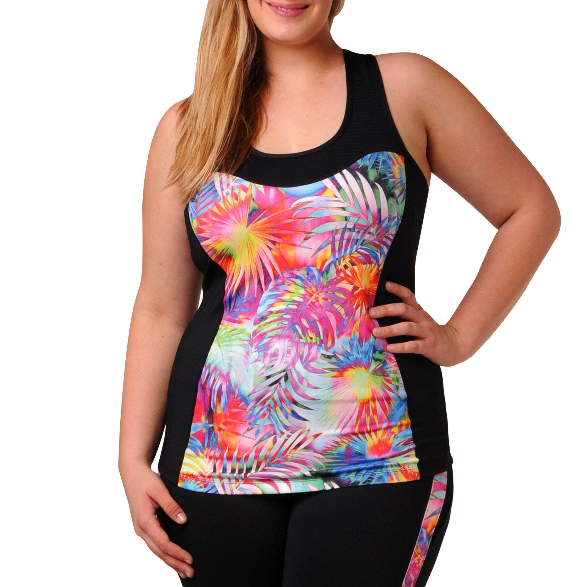 Addison Print Tank w/ Bra - Rainbeau Curves, 14/16 / Tropical Print, activewear, athleisure, fitness, workout, gym, performance, womens, ladies, plus size, curvy, full figured, spandex, cotton, polyester - 1
