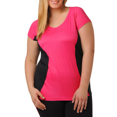 Jodie Sporty Tee - Rainbeau Curves, 14/16 / Passion Pink, activewear, athleisure, fitness, workout, gym, performance, womens, ladies, plus size, curvy, full figured, spandex, cotton, polyester - 3