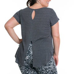 Vanessa Tee - Rainbeau Curves, 18/20 / Dark Heather Grey, activewear, athleisure, fitness, workout, gym, performance, womens, ladies, plus size, curvy, full figured, spandex, cotton, polyester - 2