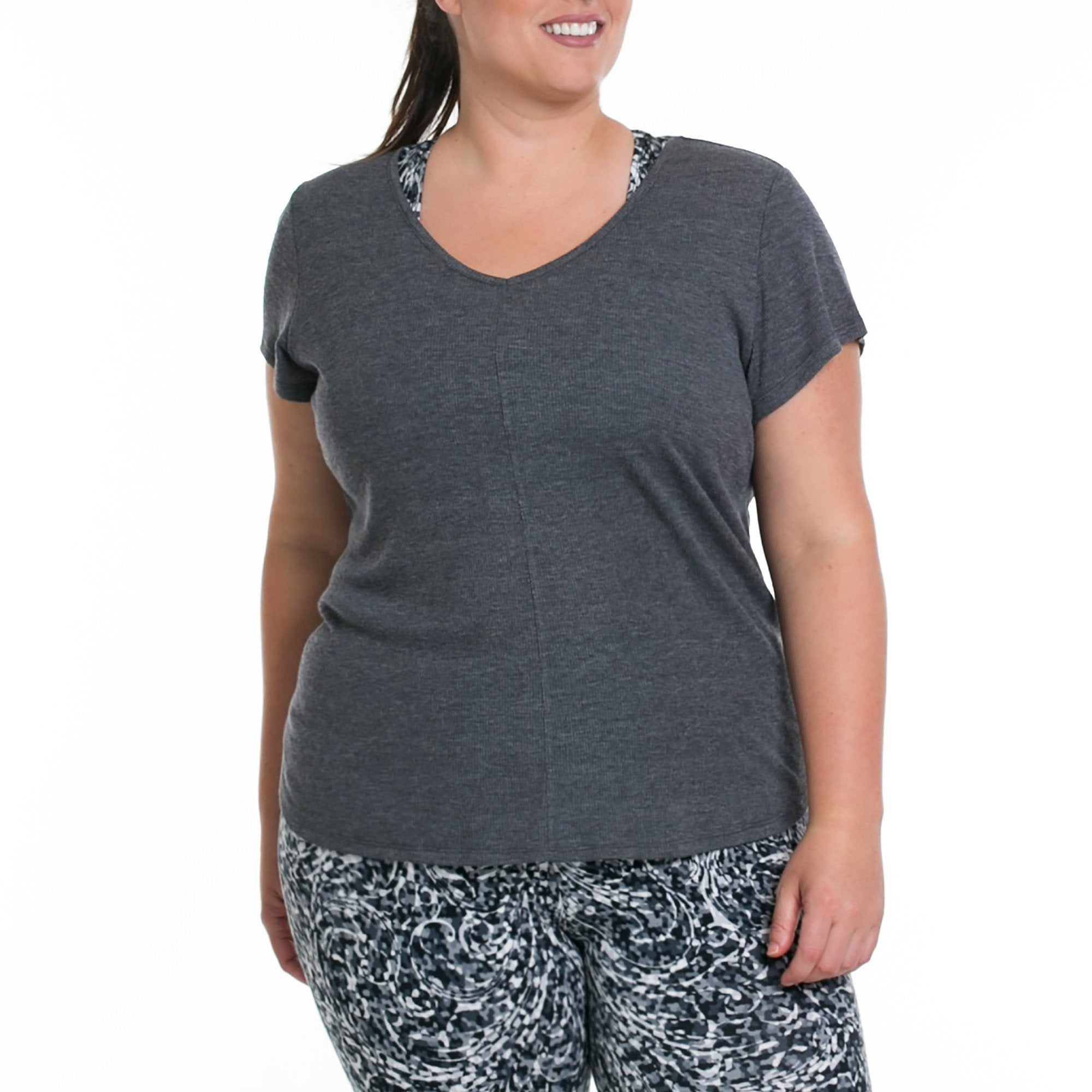 Vanessa Tee - Rainbeau Curves, 14/16 / Dark Heather Grey, activewear, athleisure, fitness, workout, gym, performance, womens, ladies, plus size, curvy, full figured, spandex, cotton, polyester - 1