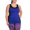 Sandy Tank w/ Bra - Rainbeau Curves, 14/16 / Cobalt, activewear, athleisure, fitness, workout, gym, performance, womens, ladies, plus size, curvy, full figured, spandex, cotton, polyester - 1