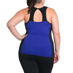 Sandy Tank w/ Bra - Rainbeau Curves, 18/20 / Cobalt, activewear, athleisure, fitness, workout, gym, performance, womens, ladies, plus size, curvy, full figured, spandex, cotton, polyester - 2