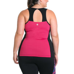 Sandy Tank w/ Bra - Rainbeau Curves, 14/16 / Passion Pink, activewear, athleisure, fitness, workout, gym, performance, womens, ladies, plus size, curvy, full figured, spandex, cotton, polyester - 3