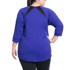 Miranda Pullover - Rainbeau Curves, 18/20 / Cobalt, activewear, athleisure, fitness, workout, gym, performance, womens, ladies, plus size, curvy, full figured, spandex, cotton, polyester - 2