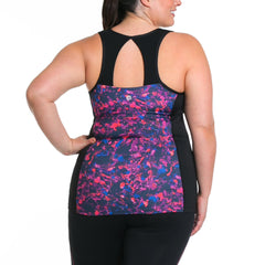 Sandy Print Tank w/ Bra - Rainbeau Curves, 14/16 / Winter Garden, activewear, athleisure, fitness, workout, gym, performance, womens, ladies, plus size, curvy, full figured, spandex, cotton, polyester - 2