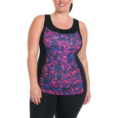 Sandy Print Tank w/ Bra - Rainbeau Curves, , activewear, athleisure, fitness, workout, gym, performance, womens, ladies, plus size, curvy, full figured, spandex, cotton, polyester - 1