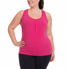 Amber Tank - Rainbeau Curves, 14/16 / Pink Posey, activewear, athleisure, fitness, workout, gym, performance, womens, ladies, plus size, curvy, full figured, spandex, cotton, polyester - 4