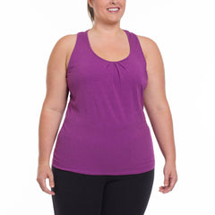 Amber Tank - Rainbeau Curves, 14/16 / Plum, activewear, athleisure, fitness, workout, gym, performance, womens, ladies, plus size, curvy, full figured, spandex, cotton, polyester - 3