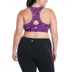 Lucy Print Bra - Rainbeau Curves, 18/20 / Radiance Plum, activewear, athleisure, fitness, workout, gym, performance, womens, ladies, plus size, curvy, full figured, spandex, cotton, polyester - 2