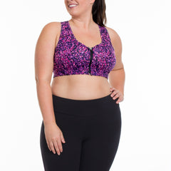Lucy Print Bra - Rainbeau Curves, 14/16 / Radiance Plum, activewear, athleisure, fitness, workout, gym, performance, womens, ladies, plus size, curvy, full figured, spandex, cotton, polyester - 1
