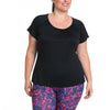 Charlotte Tee - Rainbeau Curves, 14/16 / Black, activewear, athleisure, fitness, workout, gym, performance, womens, ladies, plus size, curvy, full figured, spandex, cotton, polyester - 4