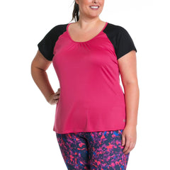 Charlotte Tee - Rainbeau Curves, 14/16 / Pink Posey, activewear, athleisure, fitness, workout, gym, performance, womens, ladies, plus size, curvy, full figured, spandex, cotton, polyester - 3