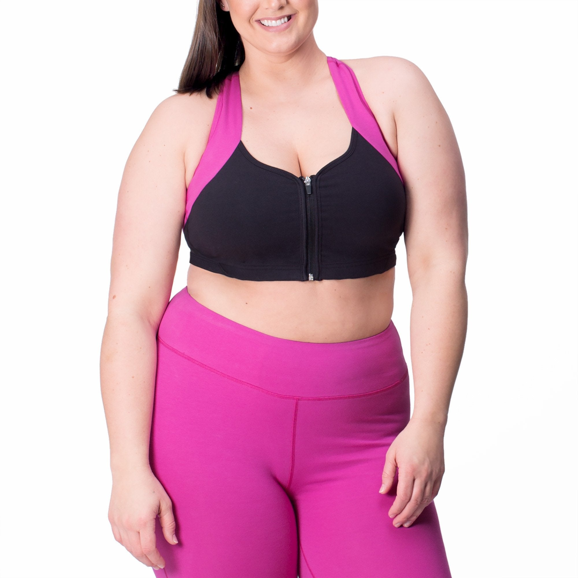 Jenna Bra - Rainbeau Curves, 14/16 / Wild Orchid, activewear, athleisure, fitness, workout, gym, performance, womens, ladies, plus size, curvy, full figured, spandex, cotton, polyester - 1