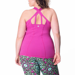 Ariel Tank - Rainbeau Curves, 14/16 / Wild Orchid, activewear, athleisure, fitness, workout, gym, performance, womens, ladies, plus size, curvy, full figured, spandex, cotton, polyester - 2