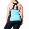 Juliana Tank w/ Bra - Rainbeau Curves, 14/16 / Clear Skies, activewear, athleisure, fitness, workout, gym, performance, womens, ladies, plus size, curvy, full figured, spandex, cotton, polyester - 2