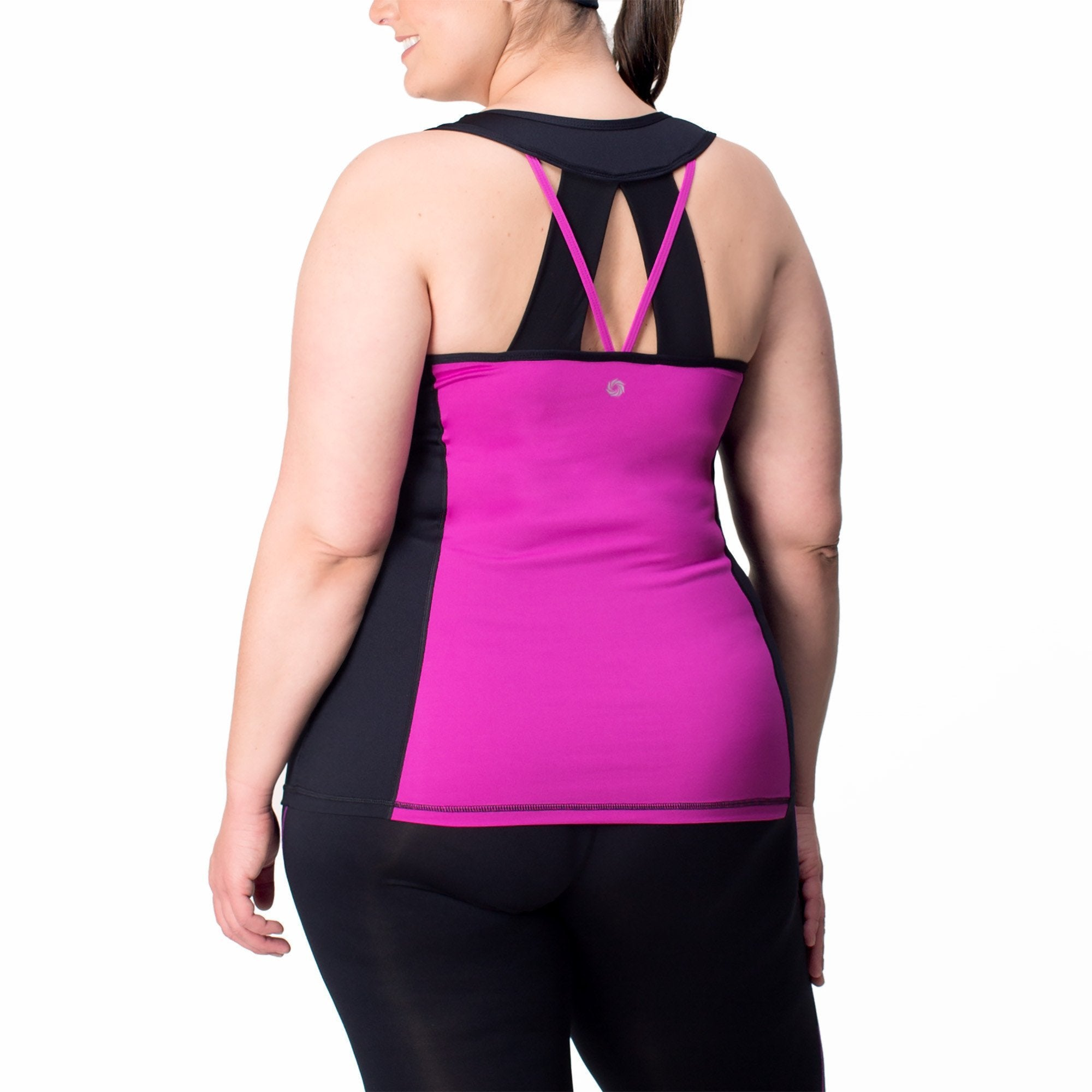 Juliana Tank w/ Bra - Rainbeau Curves, , activewear, athleisure, fitness, workout, gym, performance, womens, ladies, plus size, curvy, full figured, spandex, cotton, polyester - 1