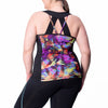 Juliana Print Tank w/ Bra - Rainbeau Curves, , activewear, athleisure, fitness, workout, gym, performance, womens, ladies, plus size, curvy, full figured, spandex, cotton, polyester - 2