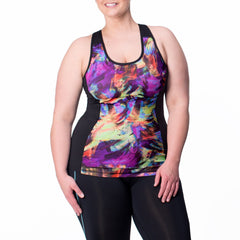 Juliana Print Tank w/ Bra - Rainbeau Curves, 14/16 / Swift Strokes, activewear, athleisure, fitness, workout, gym, performance, womens, ladies, plus size, curvy, full figured, spandex, cotton, polyester - 1