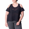 Joni Tee - Rainbeau Curves, 14/16 / Black, activewear, athleisure, fitness, workout, gym, performance, womens, ladies, plus size, curvy, full figured, spandex, cotton, polyester - 1