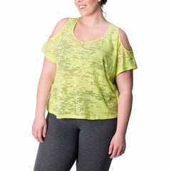 Joni Tee - Rainbeau Curves, 14/16 / Limelight, activewear, athleisure, fitness, workout, gym, performance, womens, ladies, plus size, curvy, full figured, spandex, cotton, polyester - 3